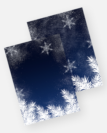 Elegant blue snowflakes winter white pine Christmas invitation mockup