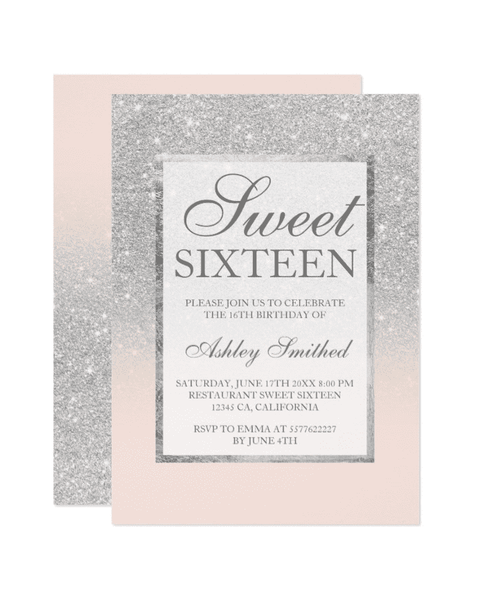 Shop Faux Silver Glitter Pink Elegant Chic Sweet 16 Invitation