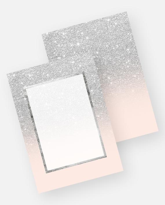 Faux silver glitter pink elegant chic frame front invitation background download