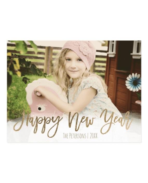 Happy New Year Gold Modern Typography Custom Photo