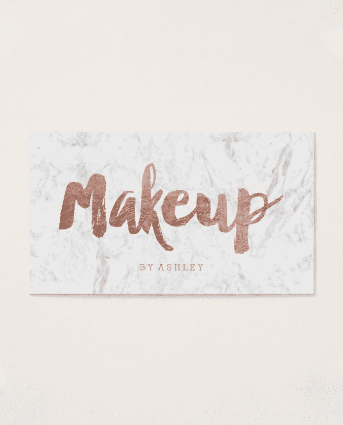 Makeup Artist Modern Rose Gold Typography Marble Business Card Pack Of 100