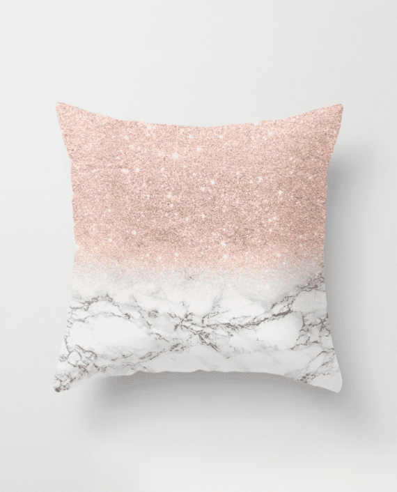 Modern Faux Rose Pink Glitter Ombre White Marble