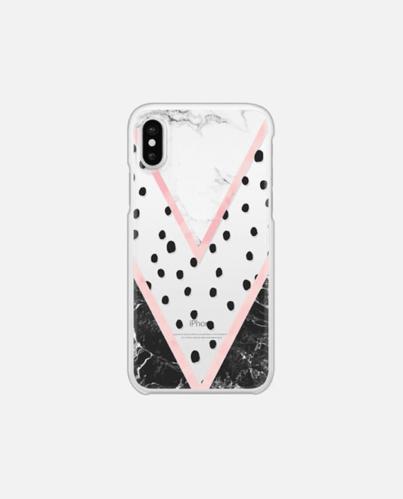 Modern pink pastel black white marble polka dots pink blush watercolor chevron color block