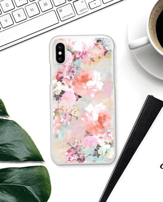 Romantic Pink Teal Pastel Chic Floral Pattern 2
