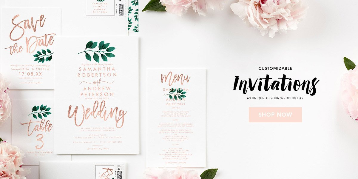 modern elegant customizable wedding invitations by girly trend 2