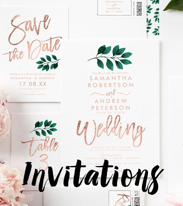 modern elegant customizable wedding invitations by girly trend mobile