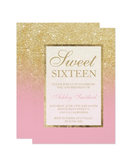 Faux gold glitter elegant chic Sweet 16 Invitation