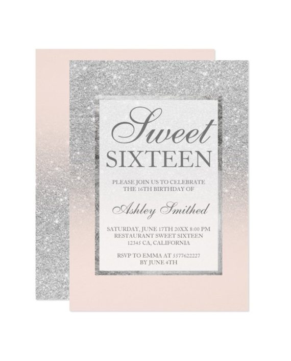 Faux silver glitter elegant chic Sweet 16 Invitation