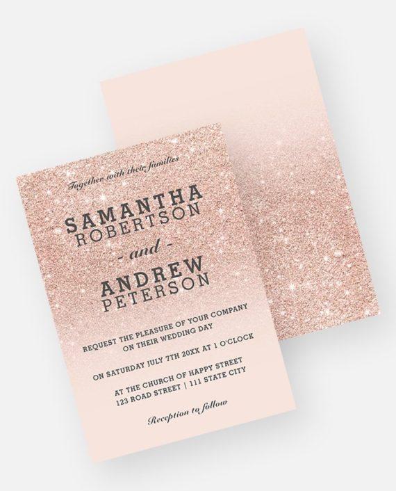 Rose gold glitter ombre wedding invitation digital download