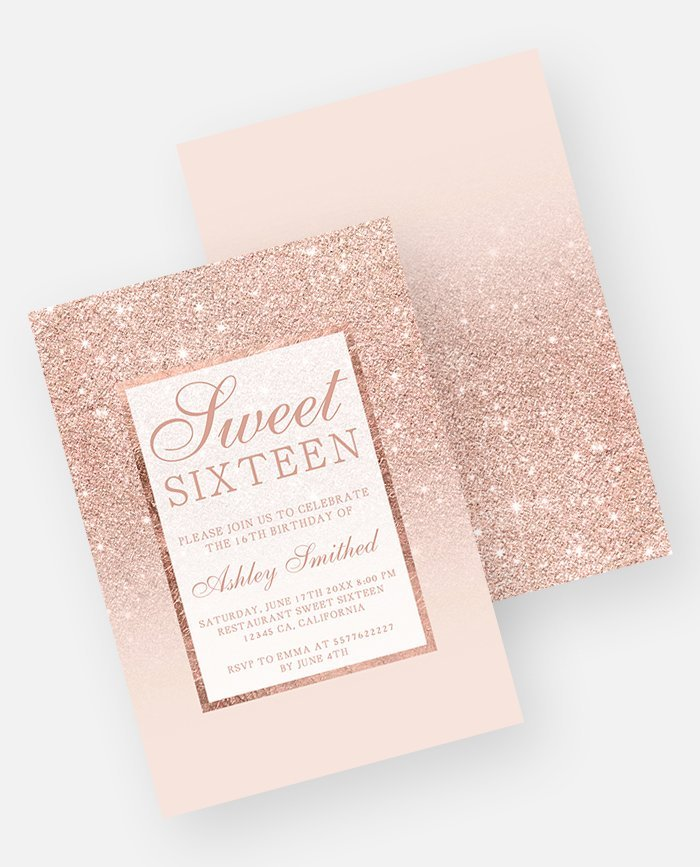 sweet 16 rose gold glitter ombre preview invitation template
