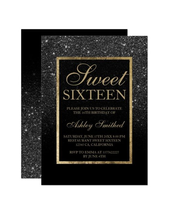 black glitter elegant chic Sweet 16 Invitation