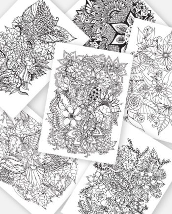 Adult coloring page instant digital download black white floral