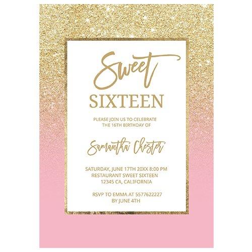 gold glitter sweet sixteen preview