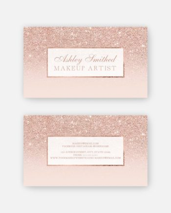 rose gold glitter makeup blush pink business card preview