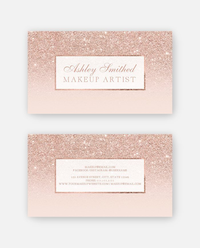 rose gold glitter makeup blush pink business card preview - Rose Gold Business Cards