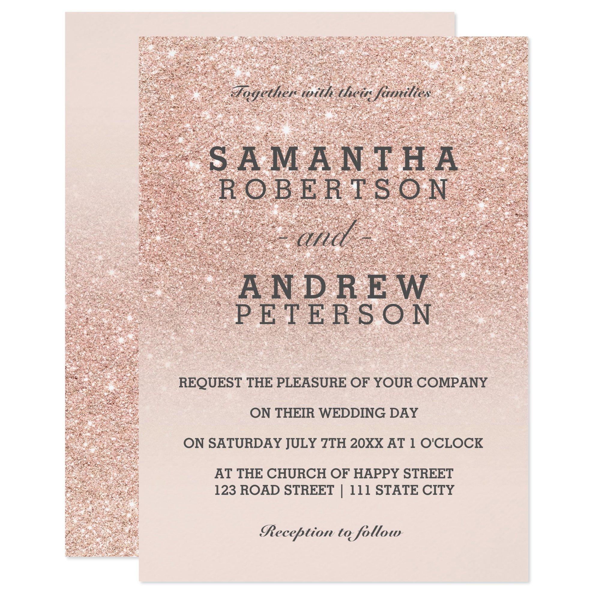 zazzle preview Rose gold glitter ombre wedding invitation digital ...