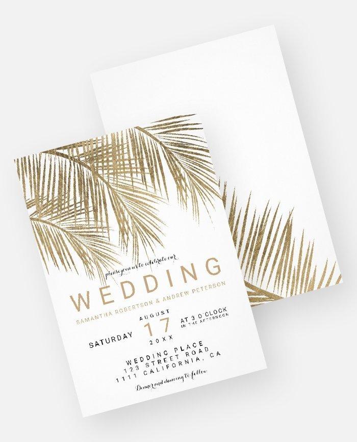 Modern Gold Palm Tree Elegant Wedding