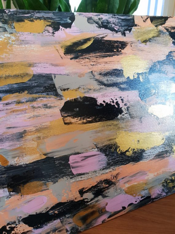 Embrace the Journey gold pink black brushstrokes abstract acrylic side