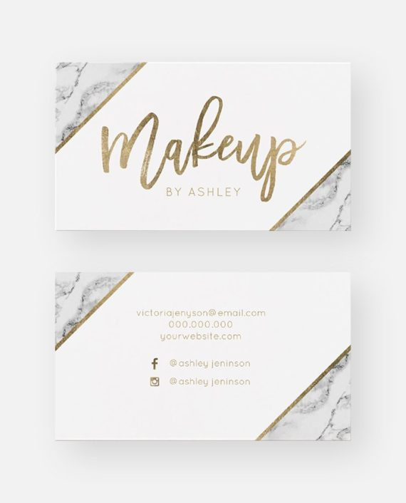 Chic Gold white marble script makeup typography Business Card