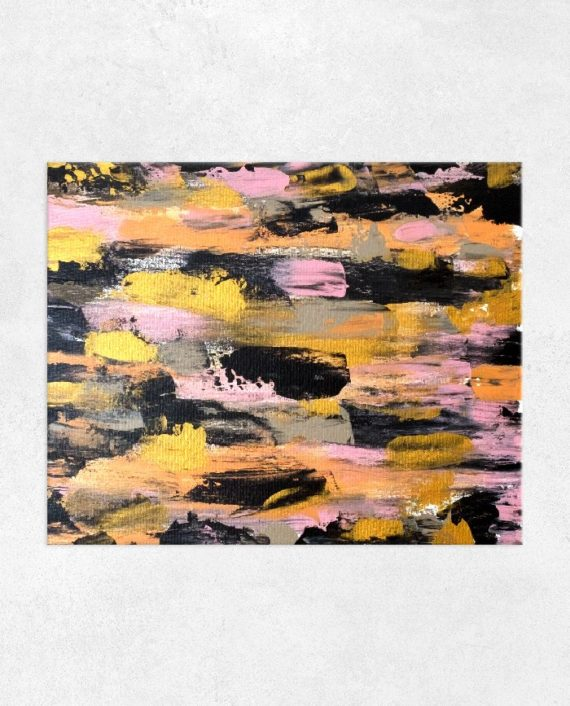Embrace the Journey gold pink black brushstrokes abstract acrylic main