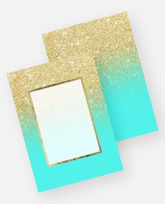 Gold glitter ombre aqua teal ocean background