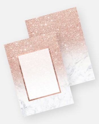 Rose gold glitter ombre white marble invitation preview