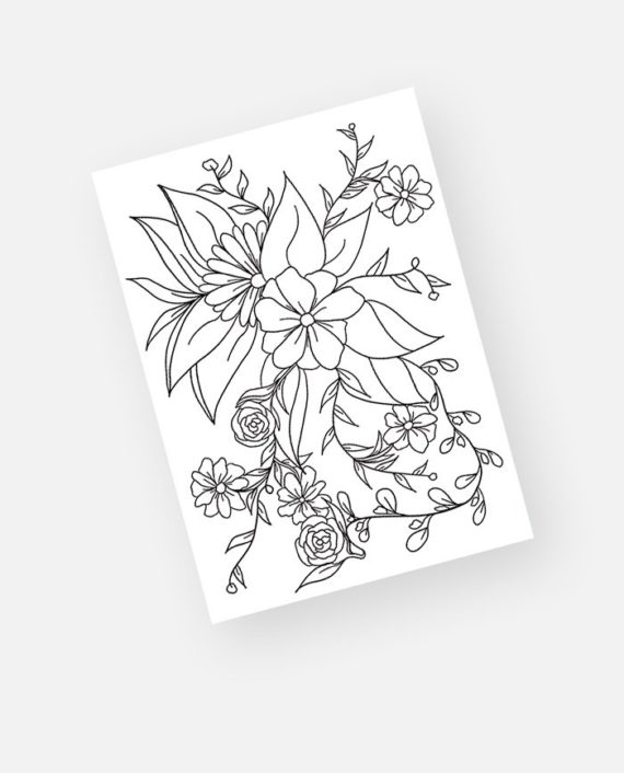 Spring floral coloring page preview