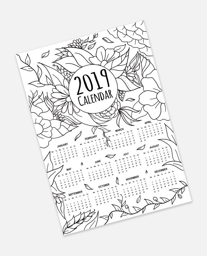 calendar 2019 coloring page preview