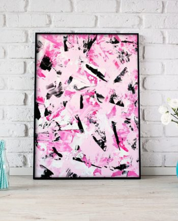 Pink black abstract acrylic painting cherry blossom