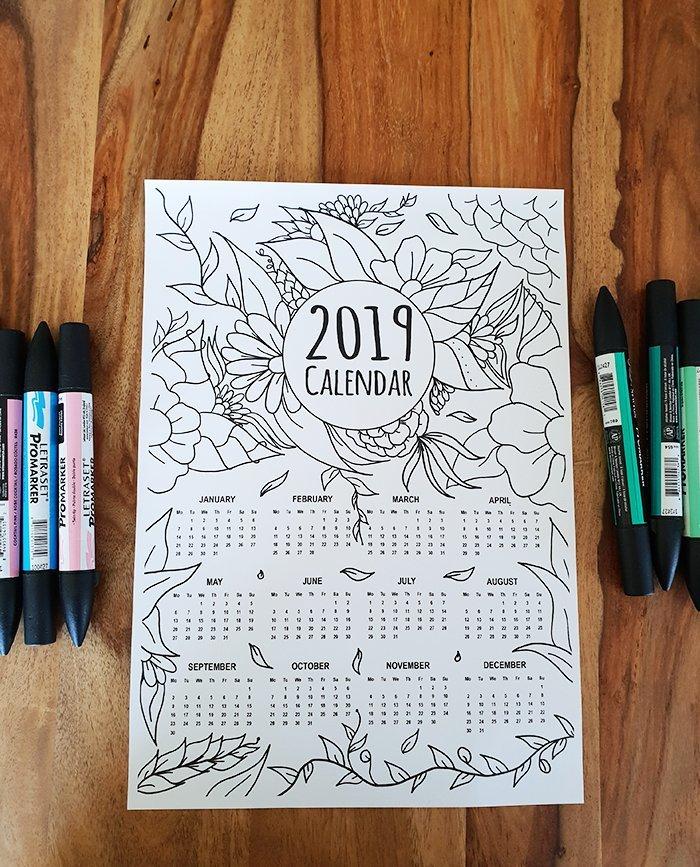 coloring page 2019 calendar