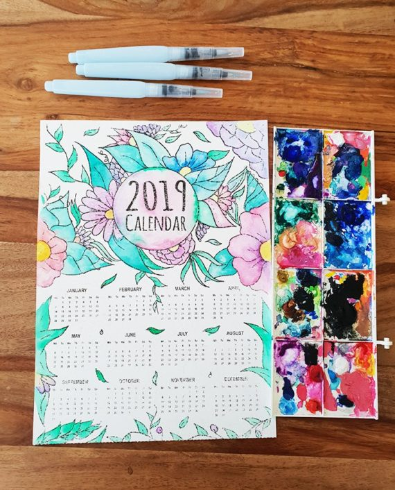 coloring page 2019 calendar watercolor