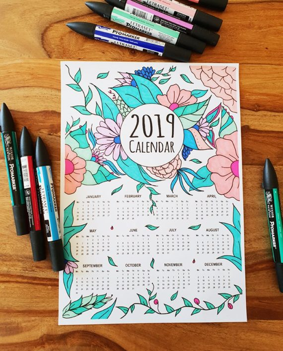 coloring page 2019 calendar marker