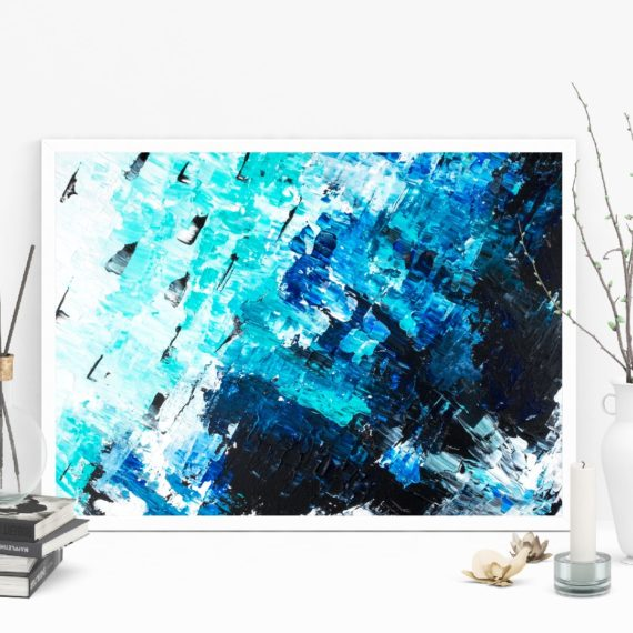 sea blue acrylic painting abstract