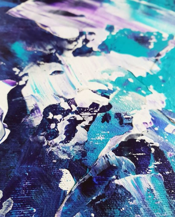 Be the change purple green teal blue abstract acrylic painting close up