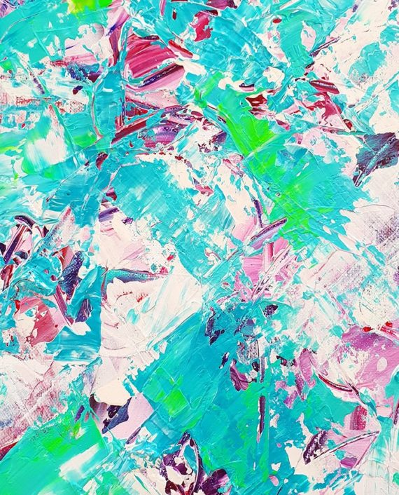 Conquer from within Modern neon green blue purple original acrylic brushstrokes painting close up