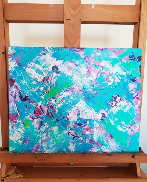 Conquer from within Modern neon green blue purple original acrylic brushstrokes painting easel