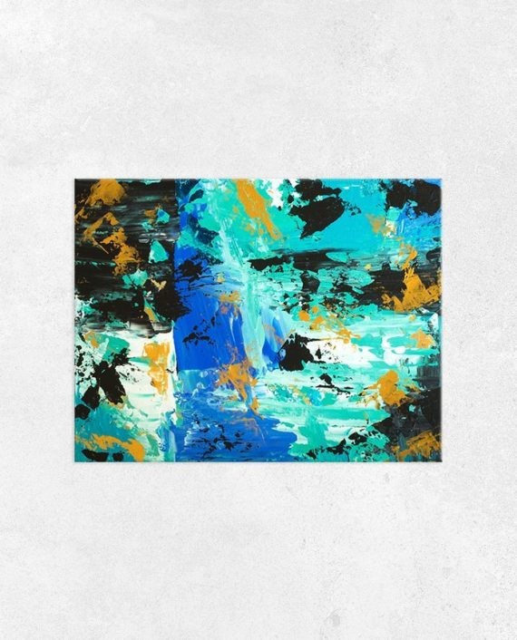 Don't lose your present to your past Abstract blue turquoise gold brushstrokes original acrylic painting