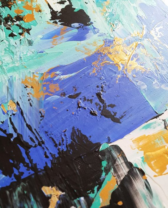 Don't lose your present to your past Abstract blue turquoise gold brushstrokes original acrylic painting close up