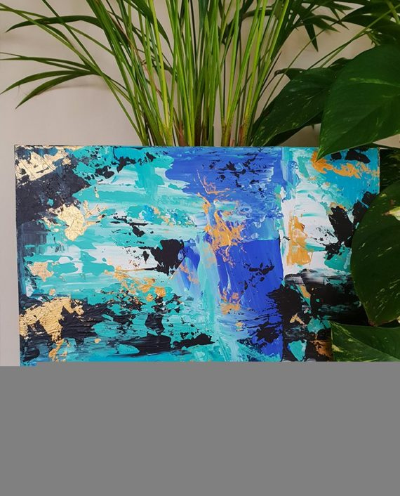 Don't lose your present to your past Abstract blue turquoise gold brushstrokes original acrylic painting preview