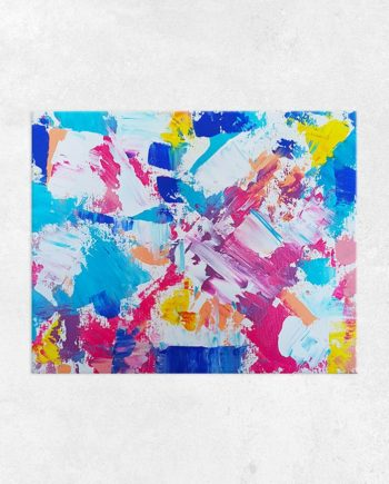 Forever and always red blue yellow acrylic painting