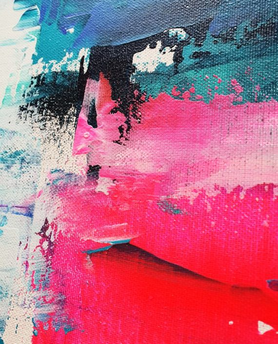 Look on the bright side neon pink blue brushstrokes abstract acrylic painting close up