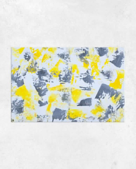 Think Happy Yellow grey acrylic abstract brushstrokes painting