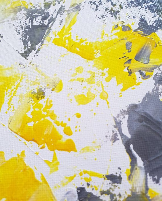 Think Happy Yellow grey acrylic abstract brushstrokes painting close up