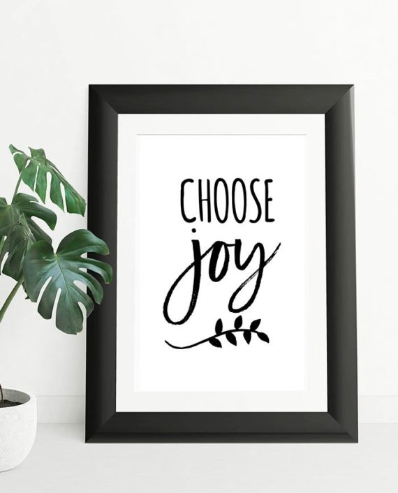Choose joy simple black typography