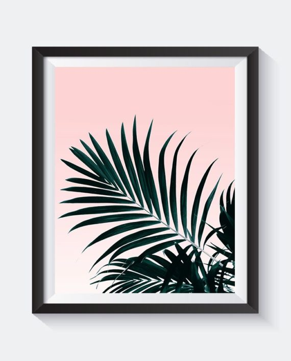 Green palm tree leaf blush pink gradient preview