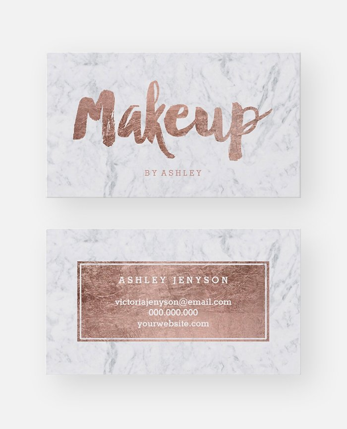 Makeup Artist Modern Rose Gold Typography Marble Business Card Printable