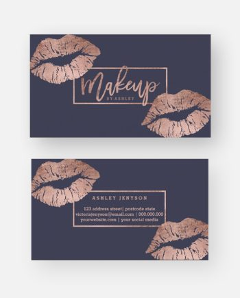 Makeup artist typography lips faux rose gold business card