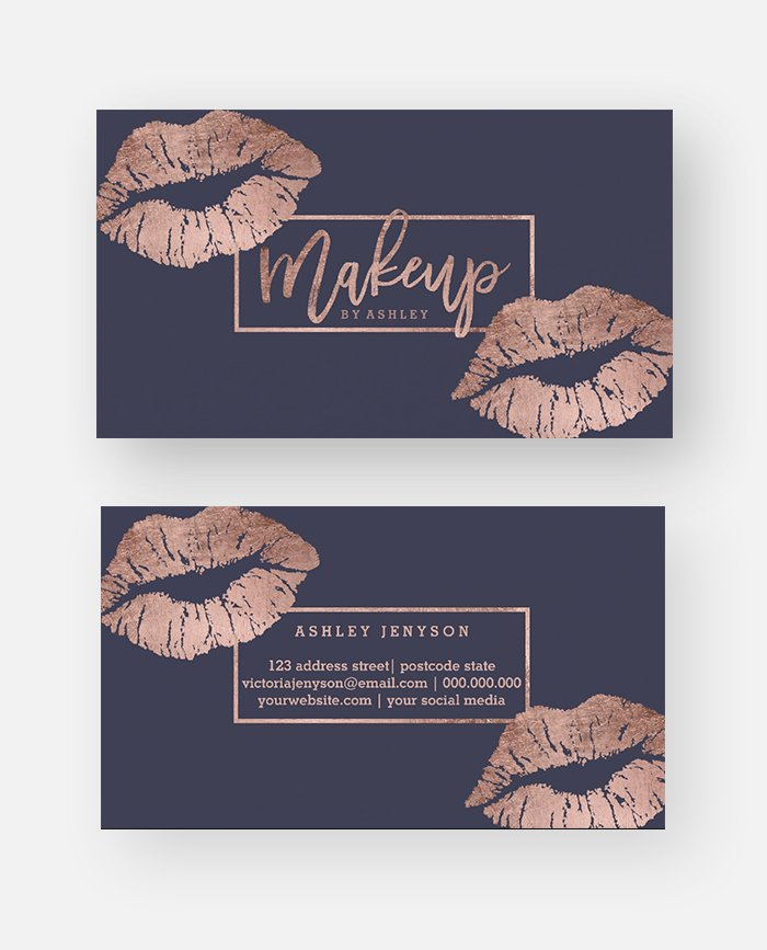 Makeup Artist Typography Lips Faux Rose Gold Printable Business Card
