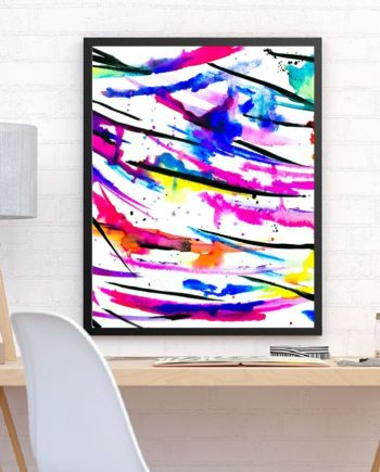Modern bright abstract pink black multicolor watercolor brushstrokes