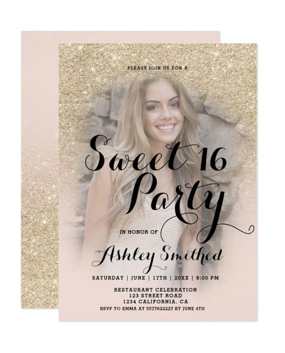 Modern champagne glitter ombre photo Sweet 16 Invitation